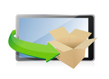 Caja de papel en la tableta para el concepto del transporte. Foto de archivo