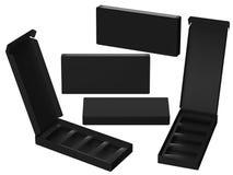 Caja de papel negra con el divisor, trayectoria de recortes incluida Imagen de archivo libre de regalías