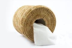 Caja de papel seda en el fondo blanco Fotos de archivo libres de regalías