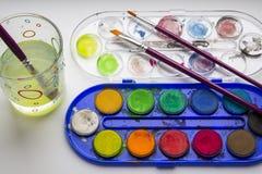 caja de pinturas del Agua-color Imagenes de archivo