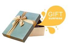 Caja de regalo abierta aislada con reclamo Fotos de archivo