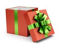 Caja de regalo abierta del rojo aislada en blanco Fotos de archivo libres de regalías