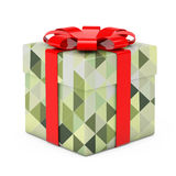 Caja de regalo abstracta de Olive Green Polygon Geometric Textured con re Fotos de archivo
