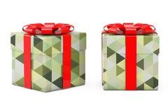 Caja de regalo abstracta de Olive Green Polygon Geometric Textured con re Imagen de archivo libre de regalías