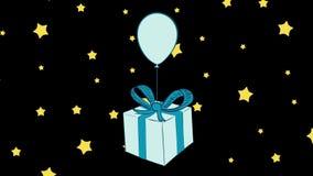Caja de regalo azul en espacio ilustración del vector
