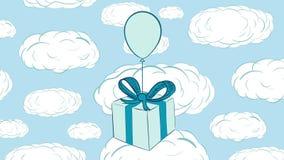 Caja de regalo azul en nubes ilustración del vector