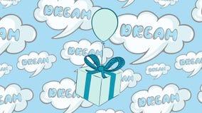 Caja de regalo azul en sueños stock de ilustración