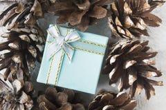 Caja de regalo azul de la Navidad con los pinecones, estilo completamente puesto imagenes de archivo