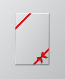 Caja de regalo blanca con la plantilla roja de la cinta y del arco Ilustración del vector stock de ilustración