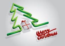 Caja de regalo con el árbol rojo del arco y de pino Fotografía de archivo