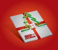 Caja de regalo con el árbol rojo del arco y de pino Foto de archivo