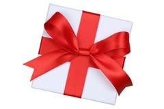 Caja de regalo con el arco desde arriba para los regalos en la Navidad, cumpleaños o Fotos de archivo libres de regalías