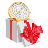 Caja de regalo con el barómetro, representación 3D stock de ilustración