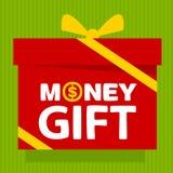 Caja de regalo con el regalo del dinero del texto Fotografía de archivo libre de regalías
