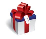 Caja de regalo con la cinta roja Foto de archivo libre de regalías