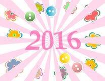 Caja de regalo con la tarjeta de felicitación del Año Nuevo 2016 con las flores fijadas Fotos de archivo