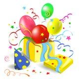 Caja de regalo con las bolas y las cintas Foto de archivo libre de regalías