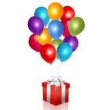 Caja de regalo con los globos Imágenes de archivo libres de regalías