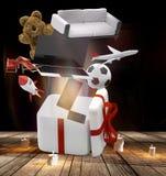 Caja de regalo con los presentes 3d-illustration Imagen de archivo libre de regalías