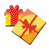 Caja de regalo con sorpresa y modelos en un fondo blanco feliz ilustración del vector