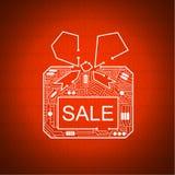 Caja de regalo con un arco de cables Fotografía de archivo libre de regalías
