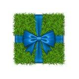 Caja de regalo 3d La opini?n superior de la caja de la hierba verde, arco de la cinta azul aisl? el fondo blanco Dise?o amistoso  stock de ilustración