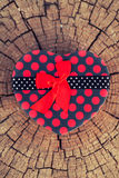 Caja de regalo de la forma del corazón en el tronco de árbol Foto de archivo