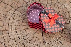 Caja de regalo de la forma del corazón en el tronco de árbol Imagen de archivo