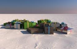 Caja de regalo de la Navidad Fotos de archivo