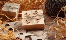 Caja de regalo de la Navidad, Año Nuevo 2017 Imagen de archivo libre de regalías