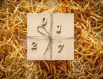Caja de regalo de la Navidad, Año Nuevo 2017 Imágenes de archivo libres de regalías