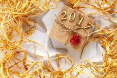 Caja de regalo de la Navidad, Año Nuevo 2017 Fotografía de archivo