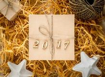 Caja de regalo de la Navidad, Año Nuevo 2017 Fotos de archivo libres de regalías