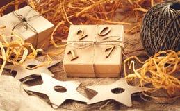 Caja de regalo de la Navidad, Año Nuevo 2017 Fotografía de archivo libre de regalías