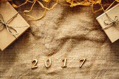 Caja de regalo de la Navidad, Año Nuevo 2017 - espacio para el texto Imagen de archivo