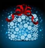 Caja de regalo de la Navidad de los copos de nieve Imágenes de archivo libres de regalías