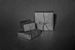Caja de regalo de la Navidad en blanco Fotografía de archivo