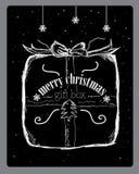 Caja de regalo de la Navidad en nieve fotografía de archivo libre de regalías