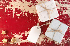 Caja de regalo de la plantilla de la etiqueta del concepto de la Navidad Imagenes de archivo