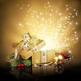 Caja de regalo de la sorpresa de la Navidad Imagen de archivo libre de regalías