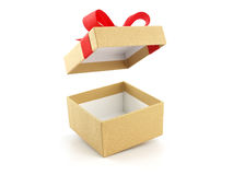 Caja de regalo de oro abierta y vacía con el arco rojo de la cinta Imágenes de archivo libres de regalías