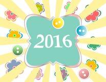 Caja de regalo de vacaciones con la tarjeta de felicitación del Año Nuevo 2016 Imagenes de archivo