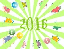 Caja de regalo de vacaciones con la tarjeta de felicitación del Año Nuevo 2016 con las flores Imagenes de archivo