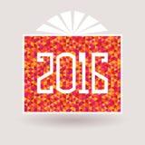 Caja 2016 de regalo del Año Nuevo con un arco Fotos de archivo libres de regalías