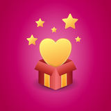 Caja de regalo del amor Fotografía de archivo libre de regalías