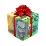 Caja de regalo del dinero del dólar australiano Imágenes de archivo libres de regalías