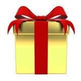 Caja de regalo del oro con el arco rojo de la cinta aislado en el fondo blanco Fotografía de archivo libre de regalías