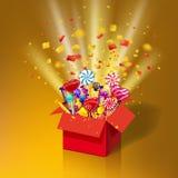 Caja de regalo dulce de la Navidad Caja abierta 3d-red con yum, caramelo, jalea, dulces Ráfaga del confeti de papel Sorpresa fest ilustración del vector