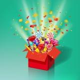 Caja de regalo dulce de la Navidad Explosión del confeti de papel Caja abierta 3d-red con yum, caramelo, jalea, dulces Sorpresa f ilustración del vector