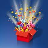 Caja de regalo dulce de la Navidad Explosión del confeti de papel Caja abierta 3d-red con yum, caramelo, jalea, dulces Sorpresa f libre illustration